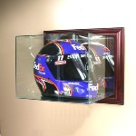 WALL MOUNTED GLASS RACING HELMET DISPLAY CASE