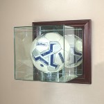 WALL MOUNTED GLASS SOCCER BALL DISPLAY CASE